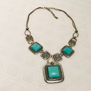 Jewelry - TURQUOISE With AZTEC Markings Costume Necklace